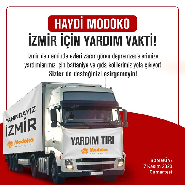 MODOKO'DAN İZMİR'E YARDIM TIR'I..