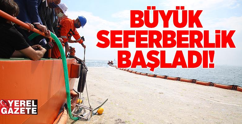 MÜSİLAJLA MÜCADELE SEFERBERLİĞİ CADDEBOSTAN SAHİLİNDE BAŞLADI..