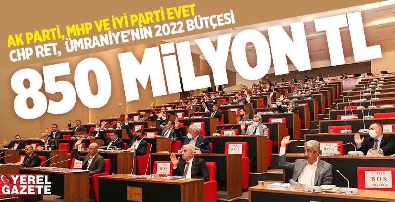 ÜMRANİYE'NİN 2022 YILI BÜTÇESİ OYÇOKLUĞU İLE KABUL EDİLDİ..